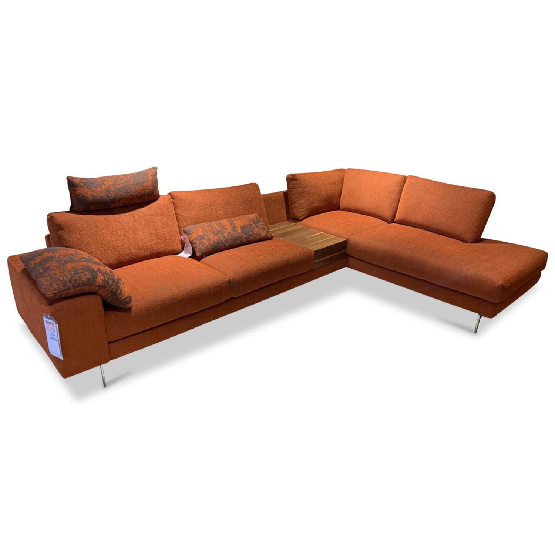 Ecksofa Stoff Orange mit Holzkonsole | Ecksofas | SOFAS ...