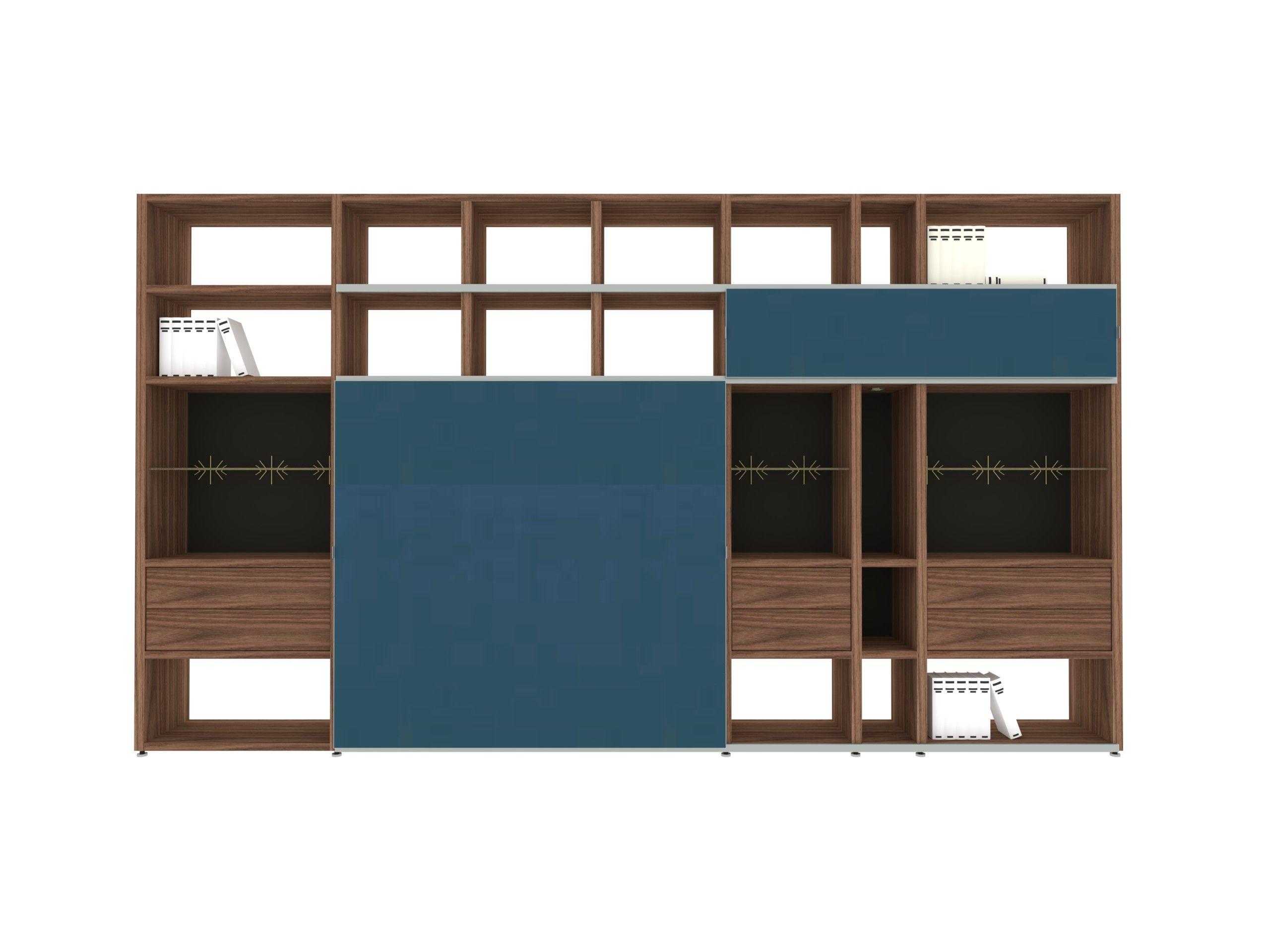 Wohnwand Mega Design Holz Nussbaum Schiebetür Glas – Hülsta ...