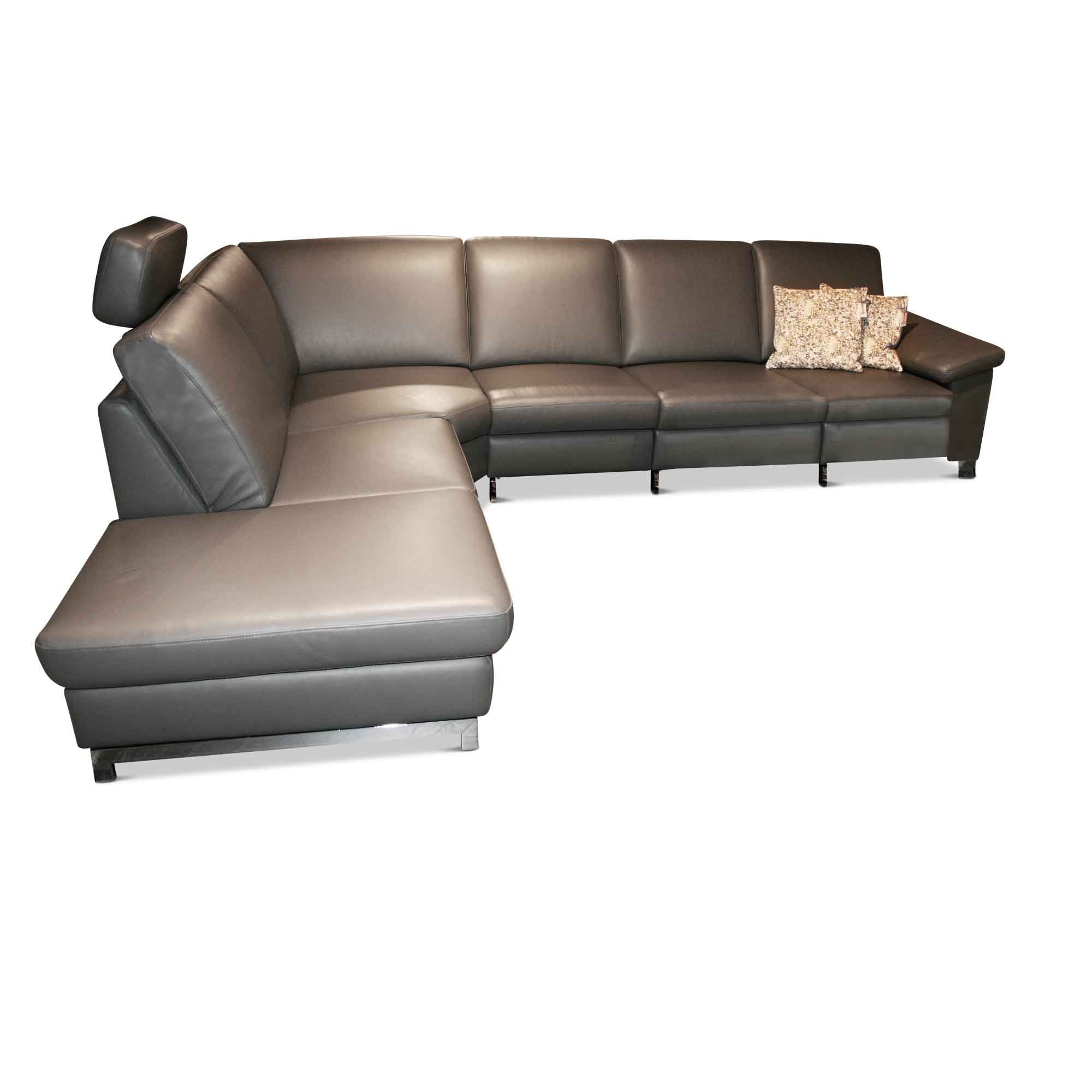 musterring designer ecksofa mr 2875 leder grau graphit 4060988000399 ebay. Black Bedroom Furniture Sets. Home Design Ideas