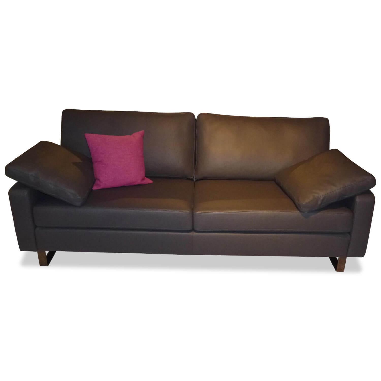 Sofa Conseta Zweisitzer Leder Grau mit 2 Kissen