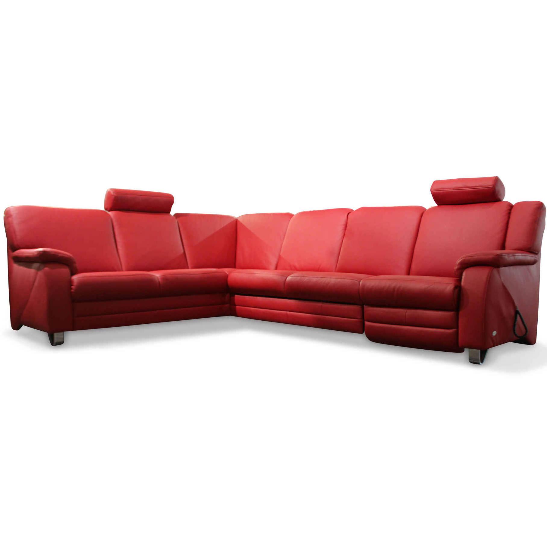 himolla designer ecksofa 1100 leder metall rot chrom ebay. Black Bedroom Furniture Sets. Home Design Ideas
