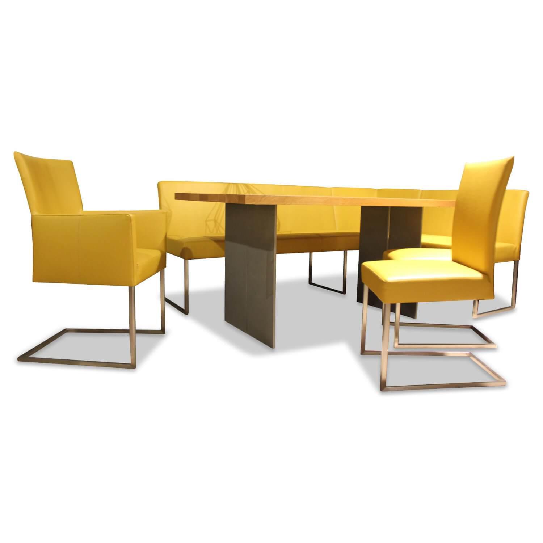 Sitzgruppe Nova Tisch Eiche Mit Bank Und Stühlen Leder
