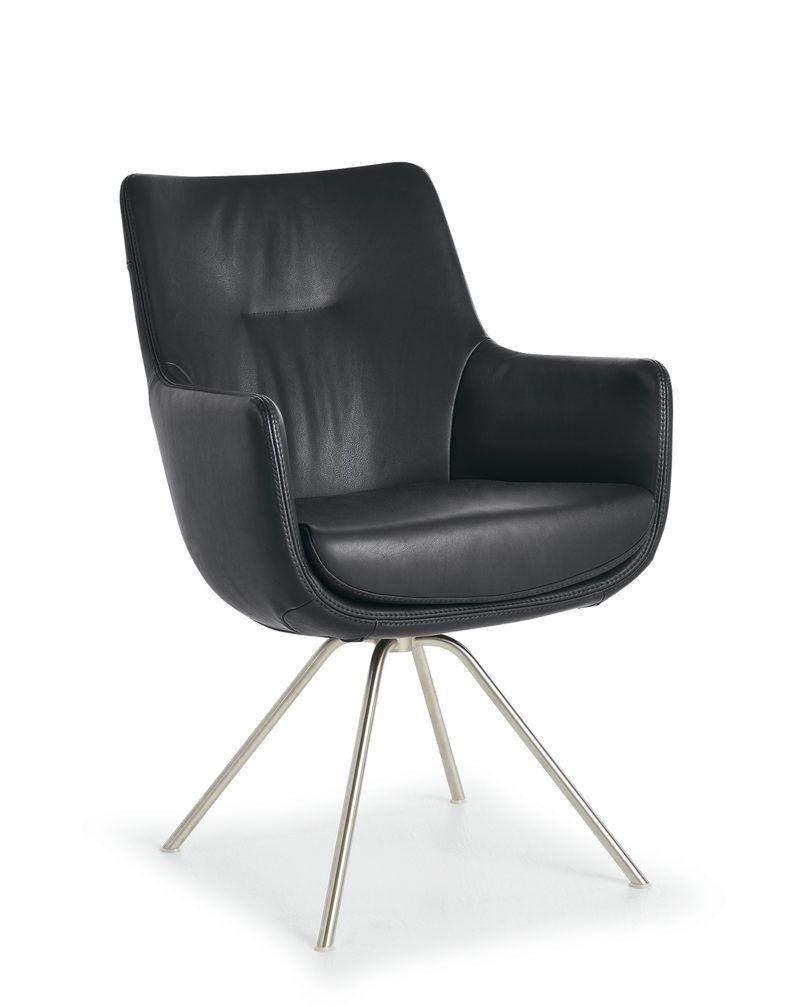 Stuhl 722 Drehfunktion Leder Schwarz Polo Wk Wohnen Stühle
