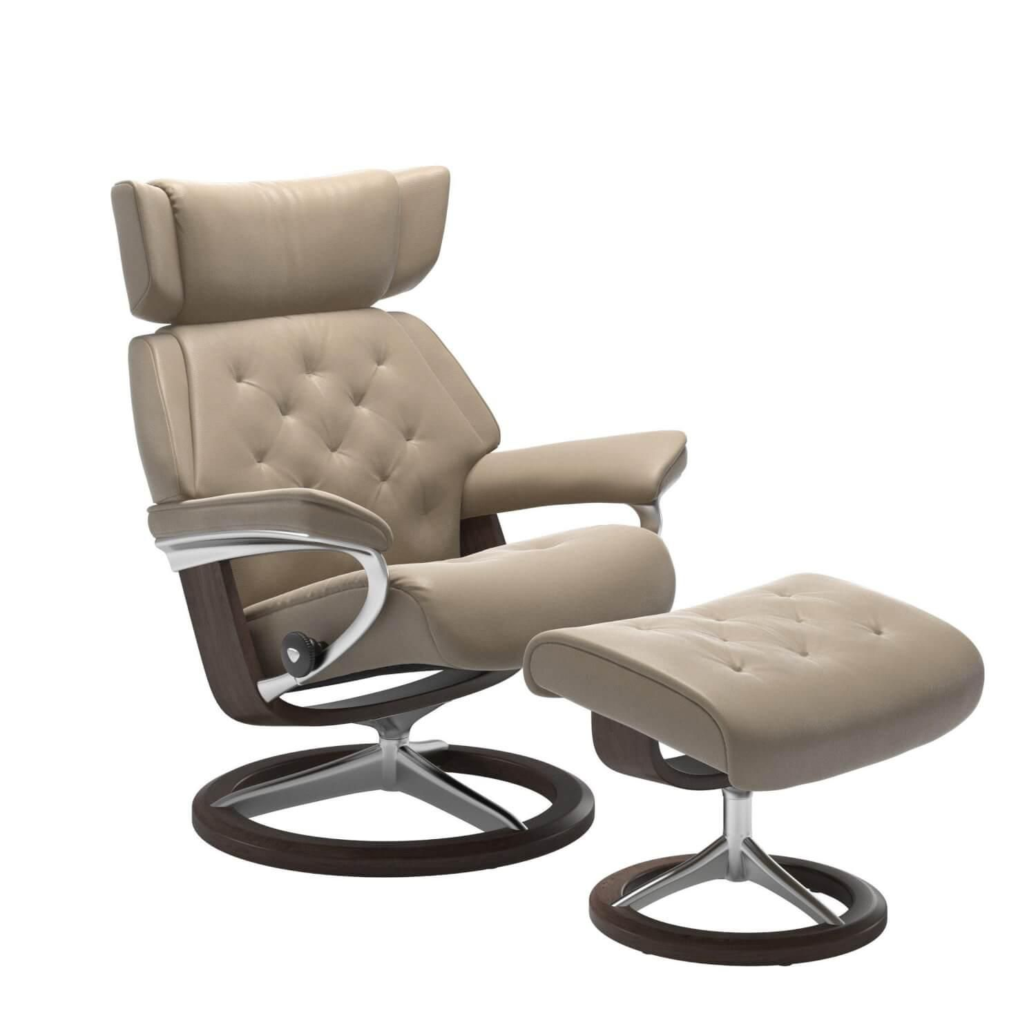 Stressless Skyline M Signature Base Leder Cori Fog Mit Hocker