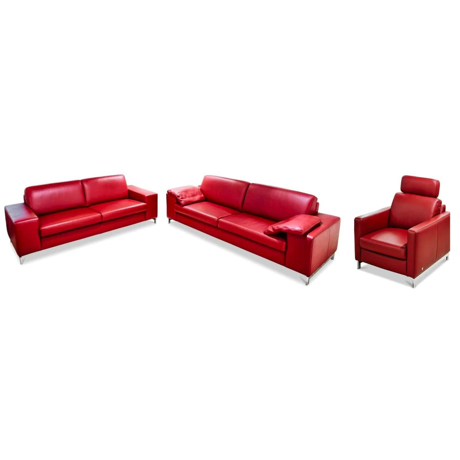 Garnitur Mr 2875 Leder Rot Sofas Sessel
