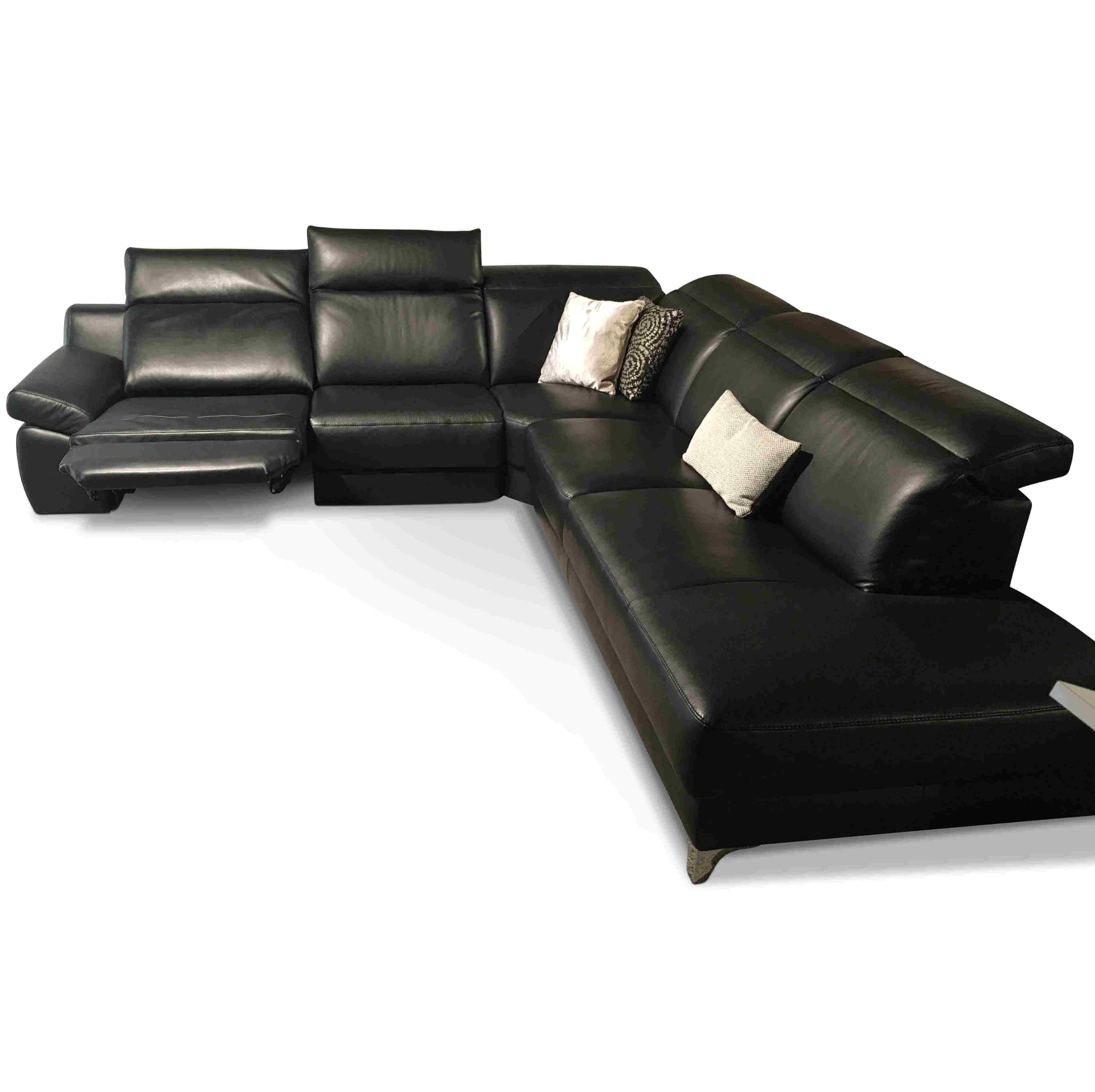 musterring designer ecksofa mr 9110 leder schwarz leder metall schwarz chrom ebay. Black Bedroom Furniture Sets. Home Design Ideas