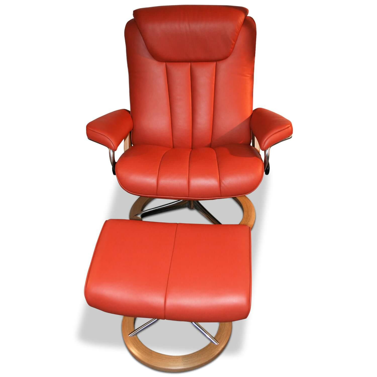 Sessel Bliss L Mit Hocker Leder Rot Signature Gestell Stressless