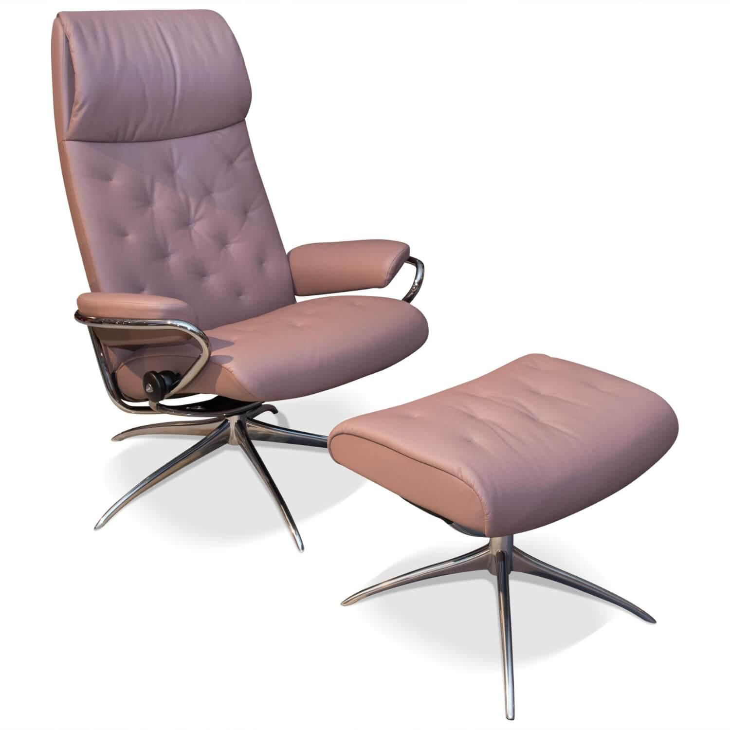 Sessel Metro Leder Paloma Rosa Dusty Rose Mit Hocker Stressless