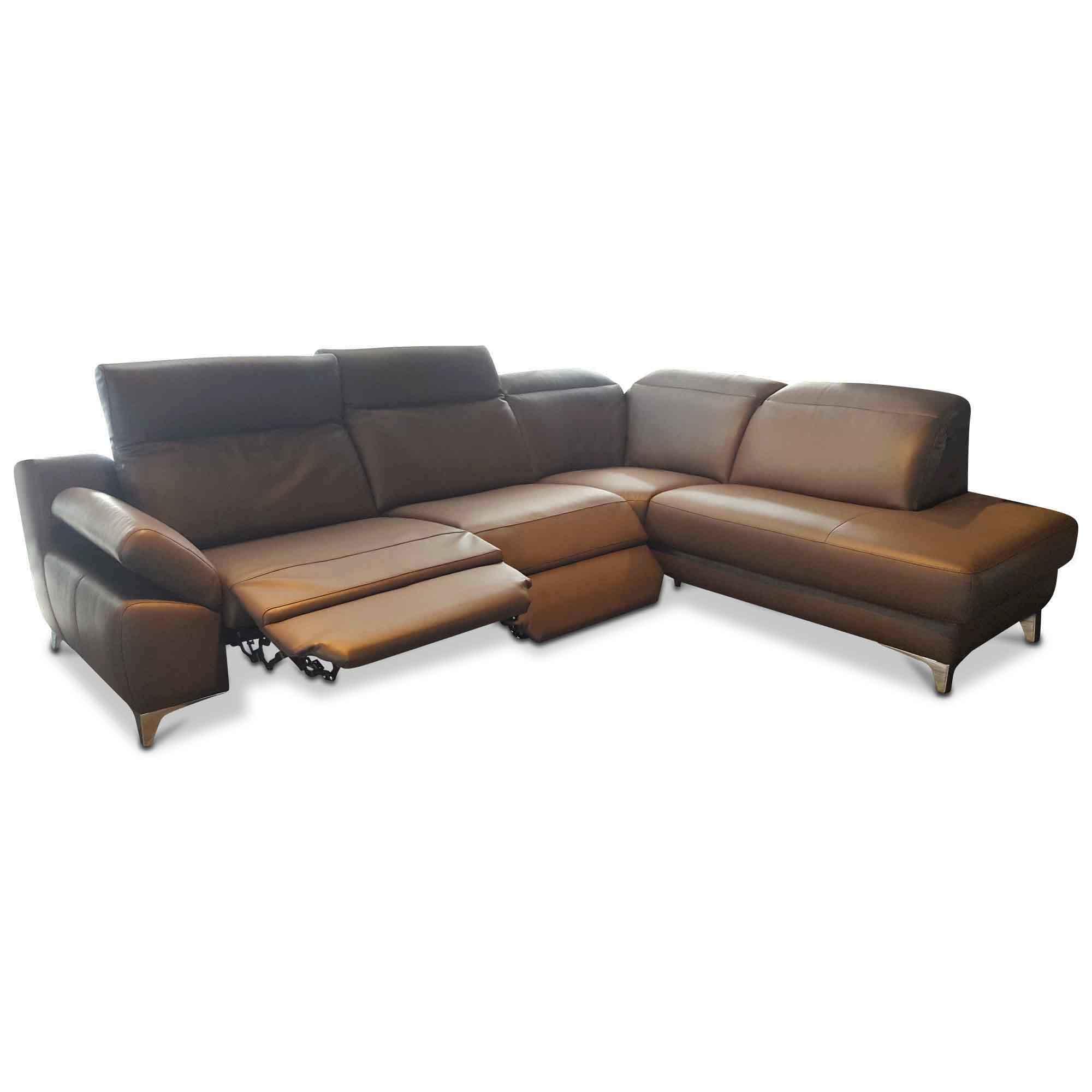 musterring designer ecksofa mr 9110 leder braun leder metall braun chrom ebay. Black Bedroom Furniture Sets. Home Design Ideas
