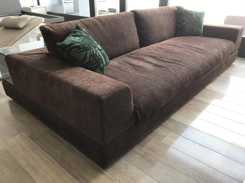 Sofa Plat Stoff D 4421 Melange Braun mit 2 Rückenablagen ...