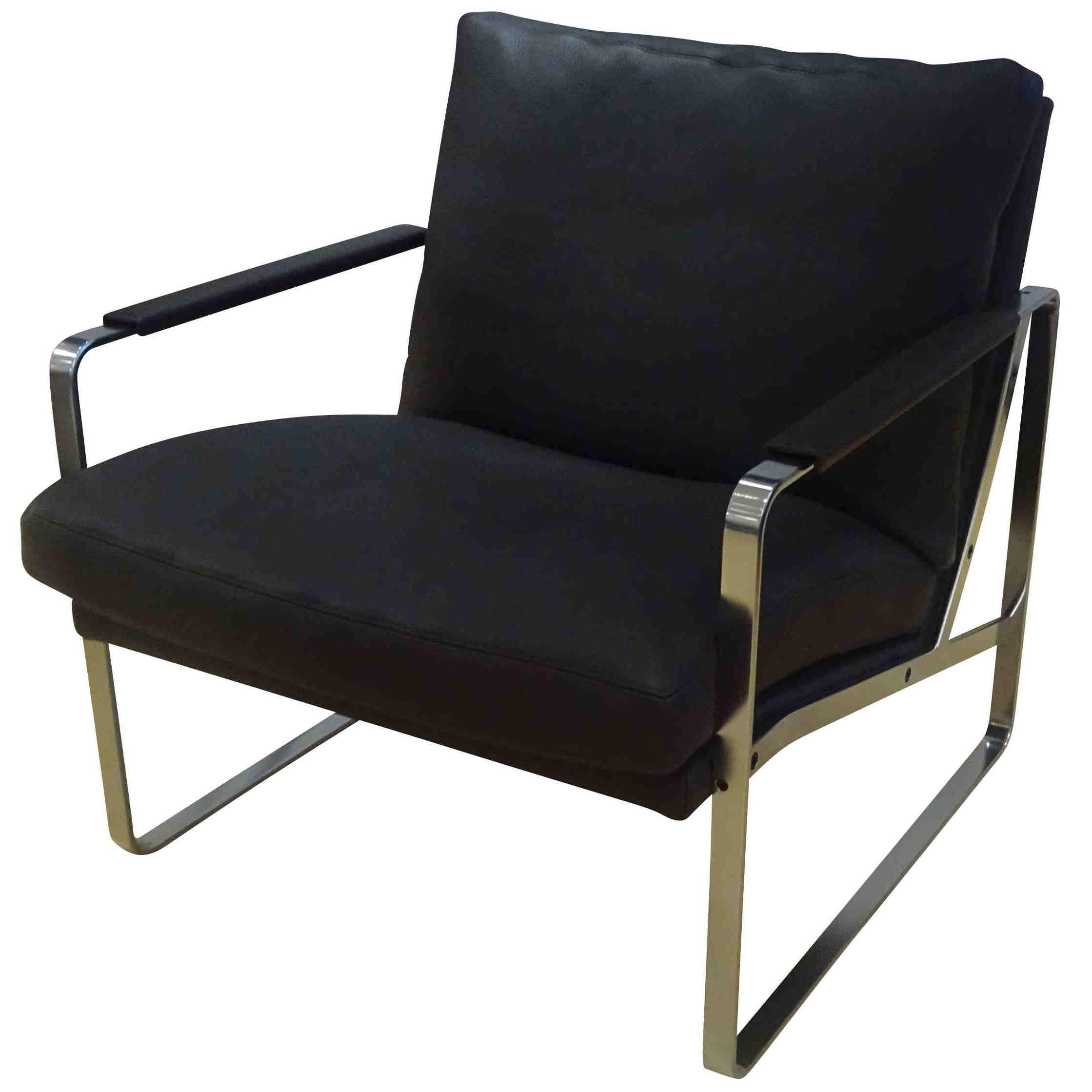 walter knoll designer sessel fabricius leder stahl chrom mokka ebay. Black Bedroom Furniture Sets. Home Design Ideas