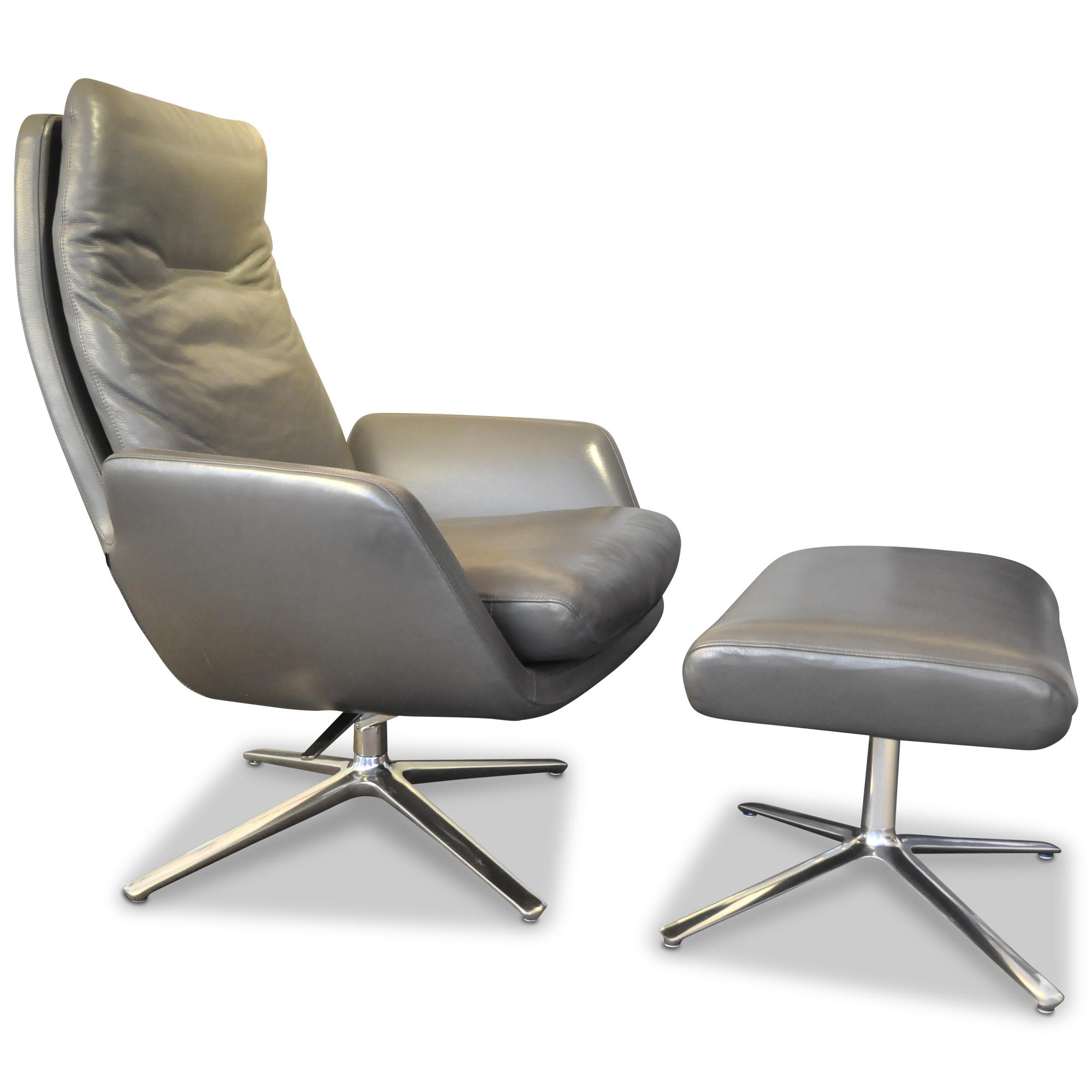 cor sessel, cor designer sessel cordia (mit hocker) leder aluminium braun grau, Design ideen
