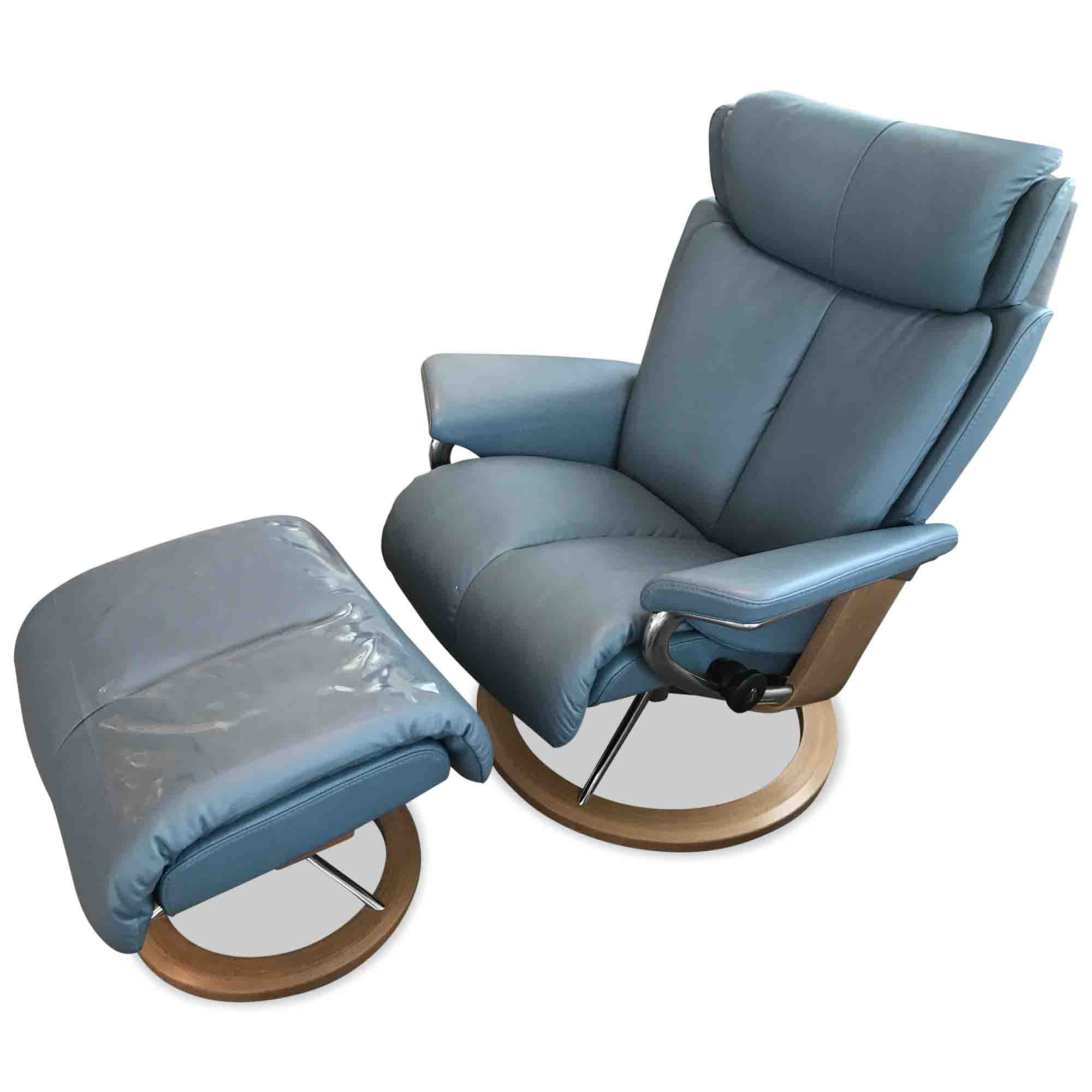 stressless designer sessel magic m signature mit hocker in blau leder holz ebay. Black Bedroom Furniture Sets. Home Design Ideas