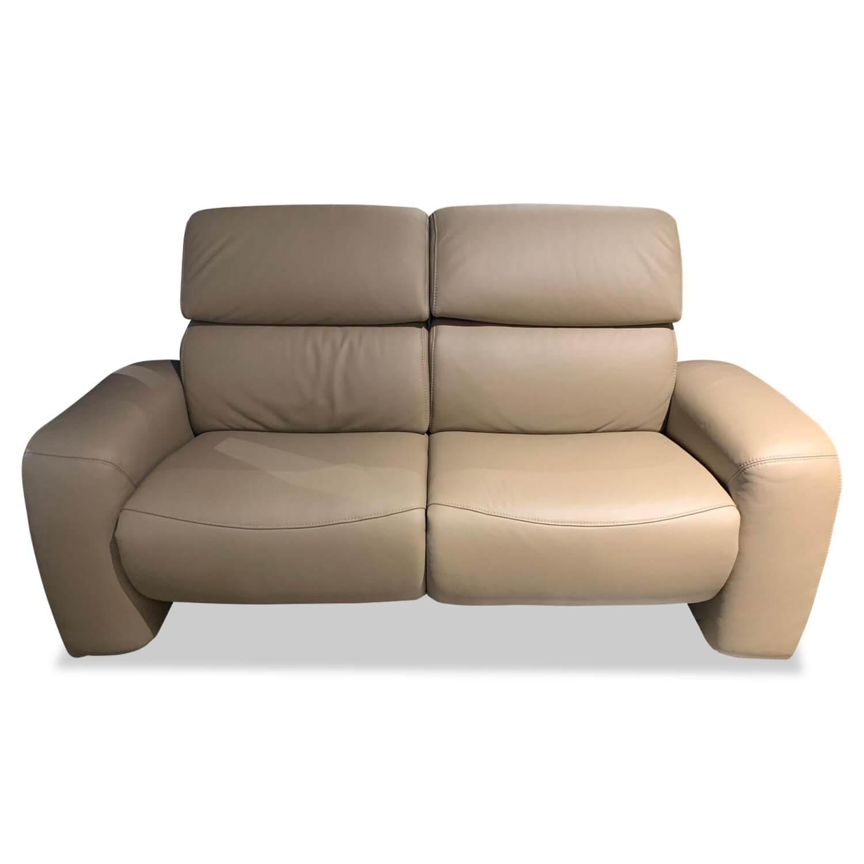 Sofa 2,5-Sitzer 8500 Leder Braun Beige mit Relaxfunktion