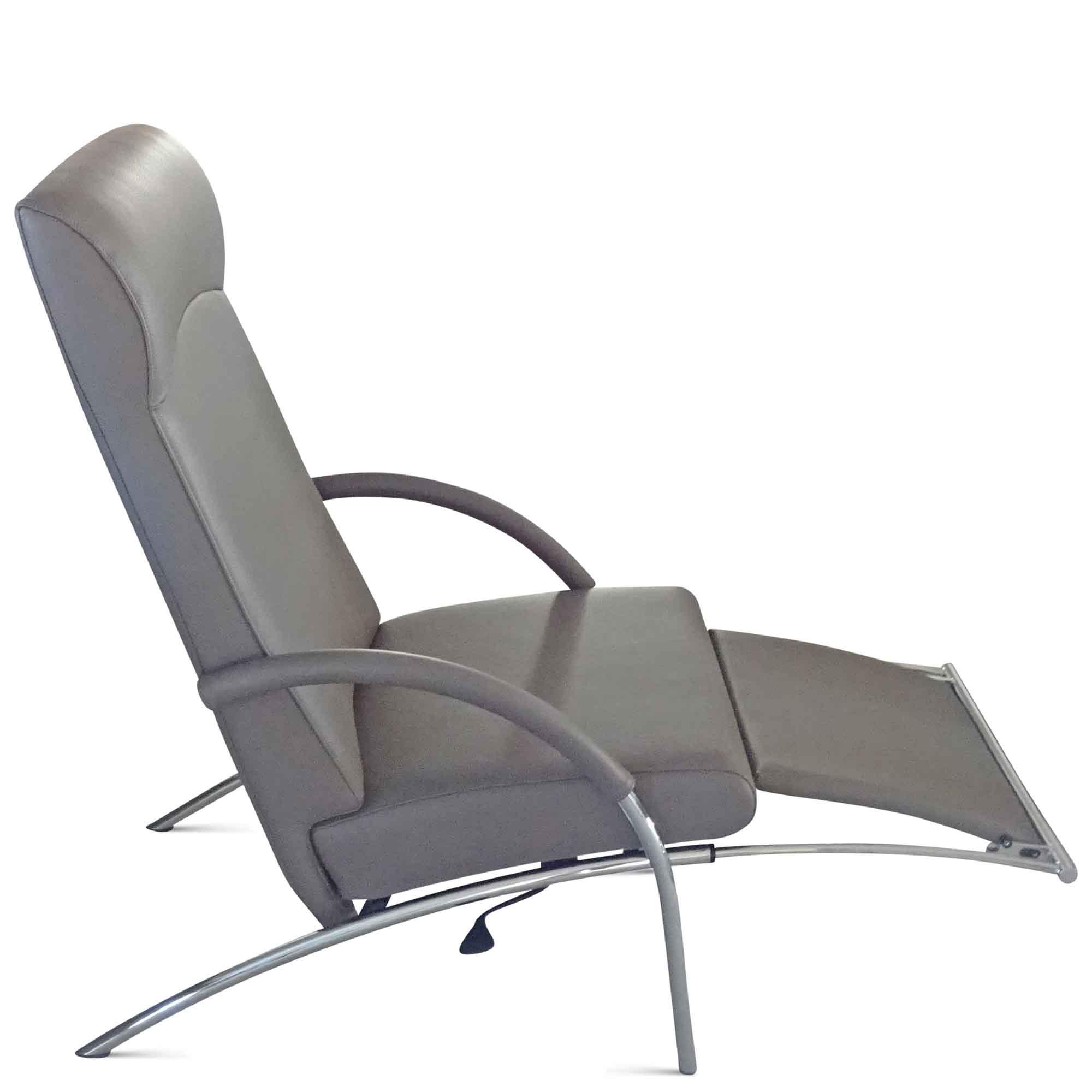 Ip Design Designer Sessel Curve In Grau Leder Stahl Grau Chrom Ebay