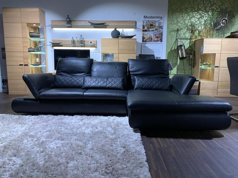 Ecksofa Mr 2955 Leder Nachtschwarz Mit Manueller Sitztiefenverstellung 2 Sitzer Sofas Sofas Mobelfirst