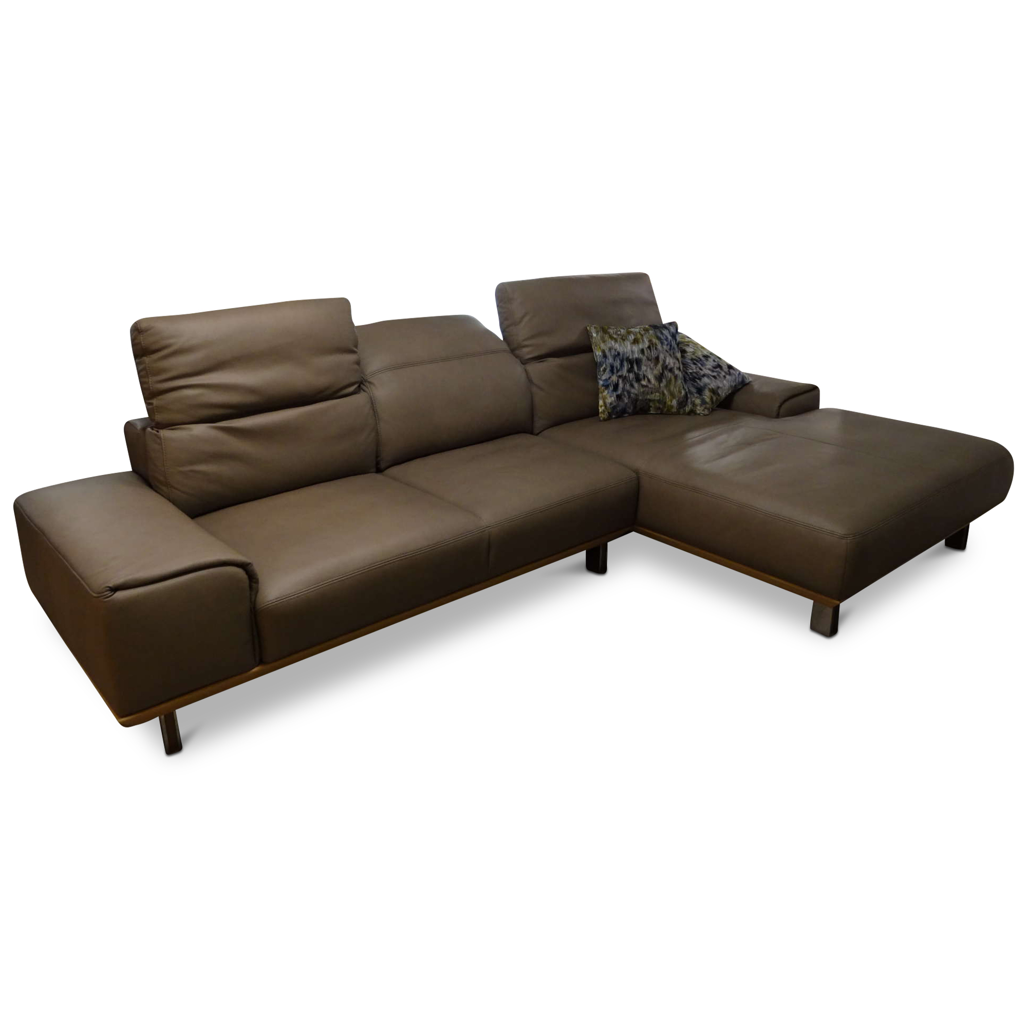 musterring designer ecksofa mr 2490 mit hocker leder holz metall beige braun ebay. Black Bedroom Furniture Sets. Home Design Ideas