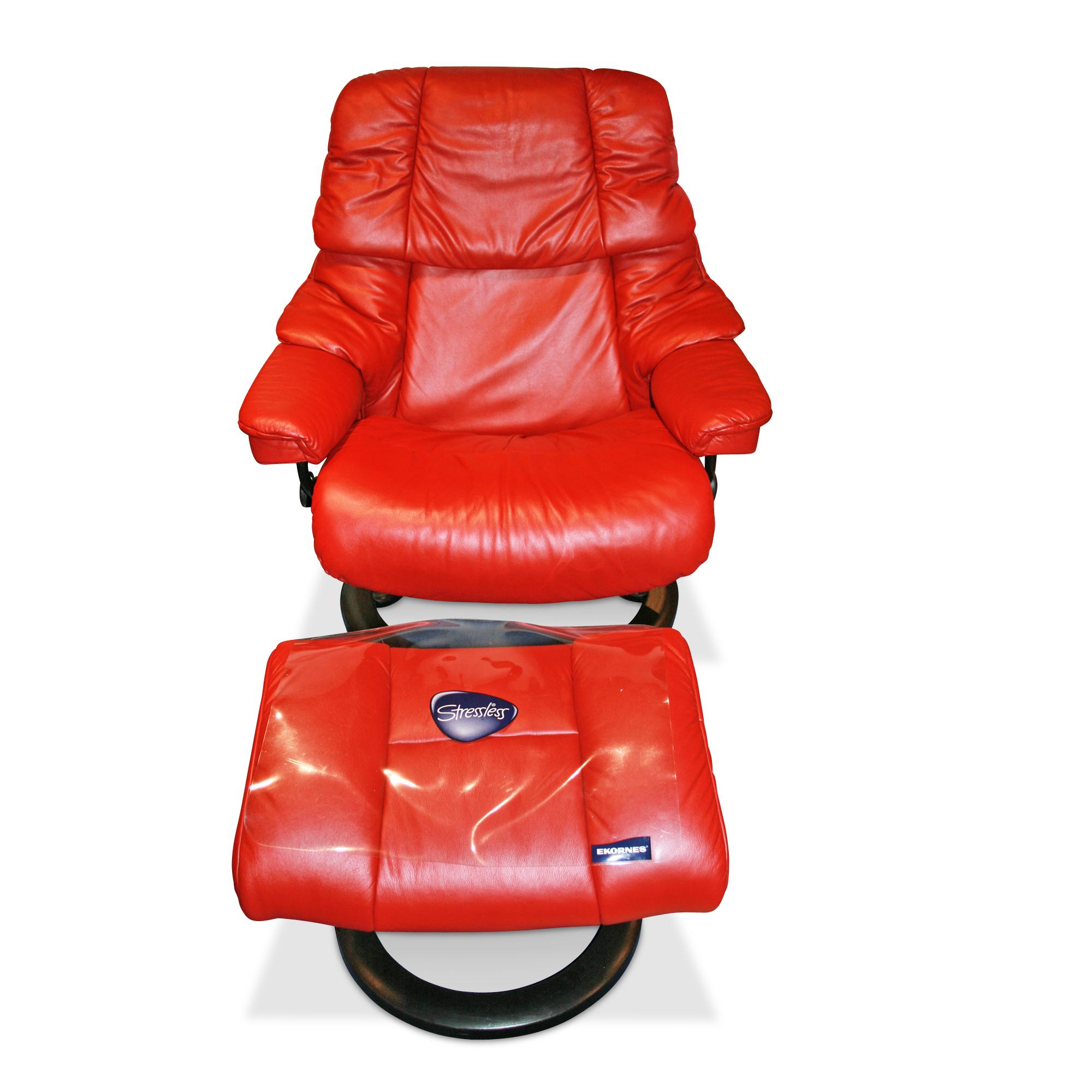 Sessel Reno L mit Hocker in Rot Stressless Sessel