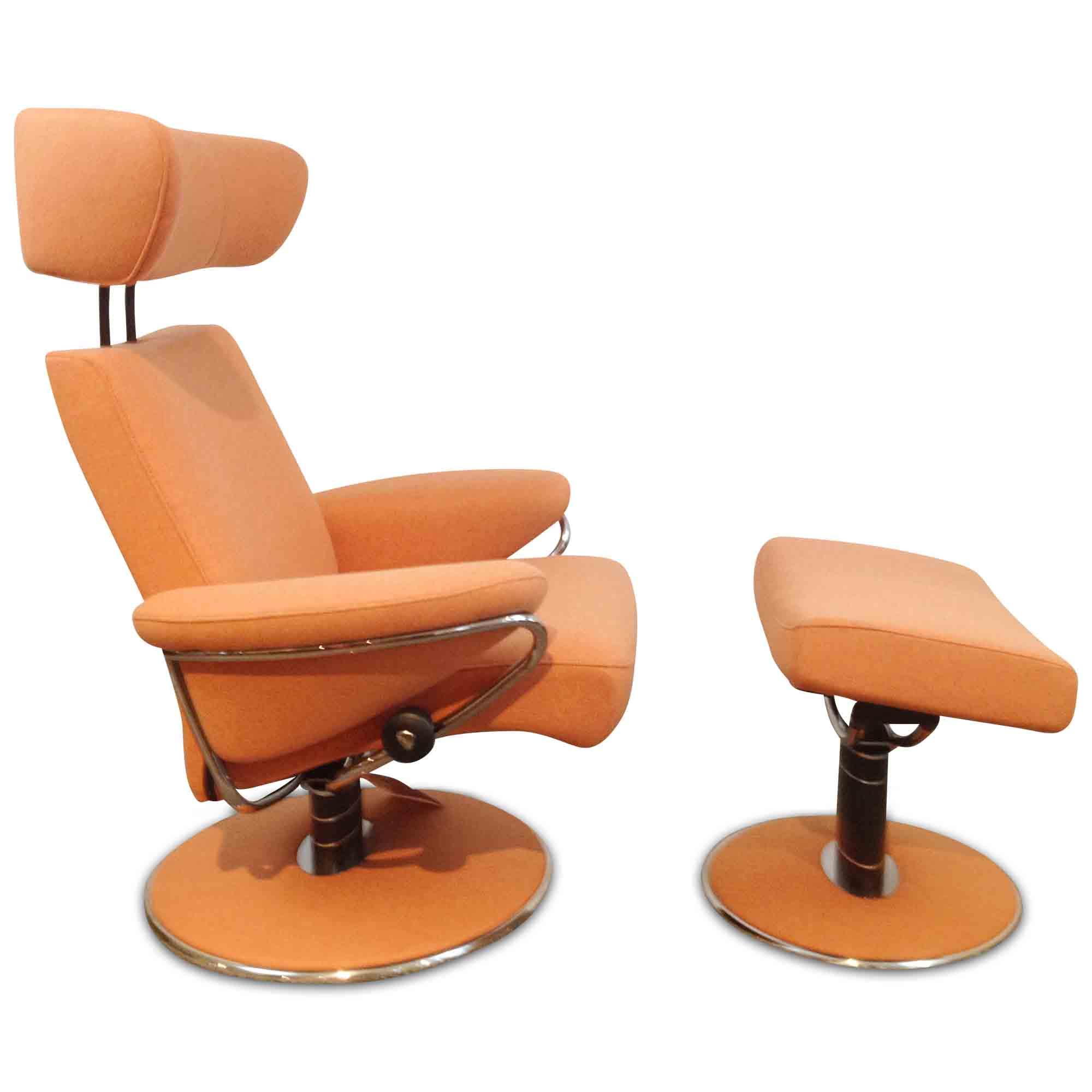 stressless designer sessel jazz mit hocker stoff metall orange silber ebay. Black Bedroom Furniture Sets. Home Design Ideas