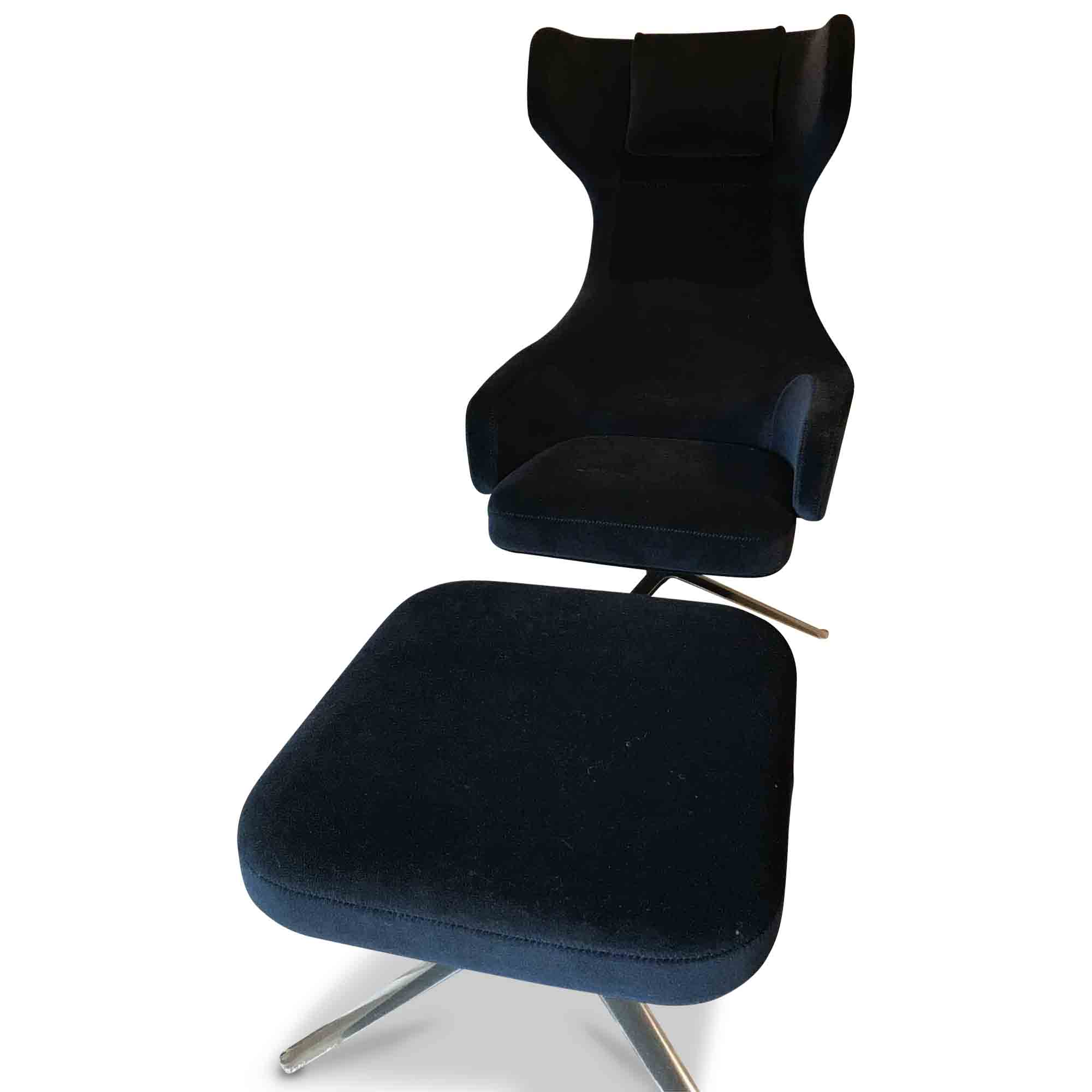 Vitra designer sessel grand repos mit hocker dunkelblau for Sessel dunkelblau