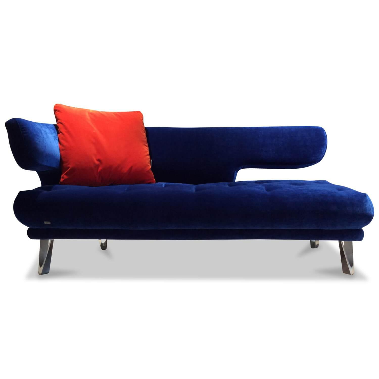 Recamiere Croissant X113li Stoff Velours Blau Sofa mit ...