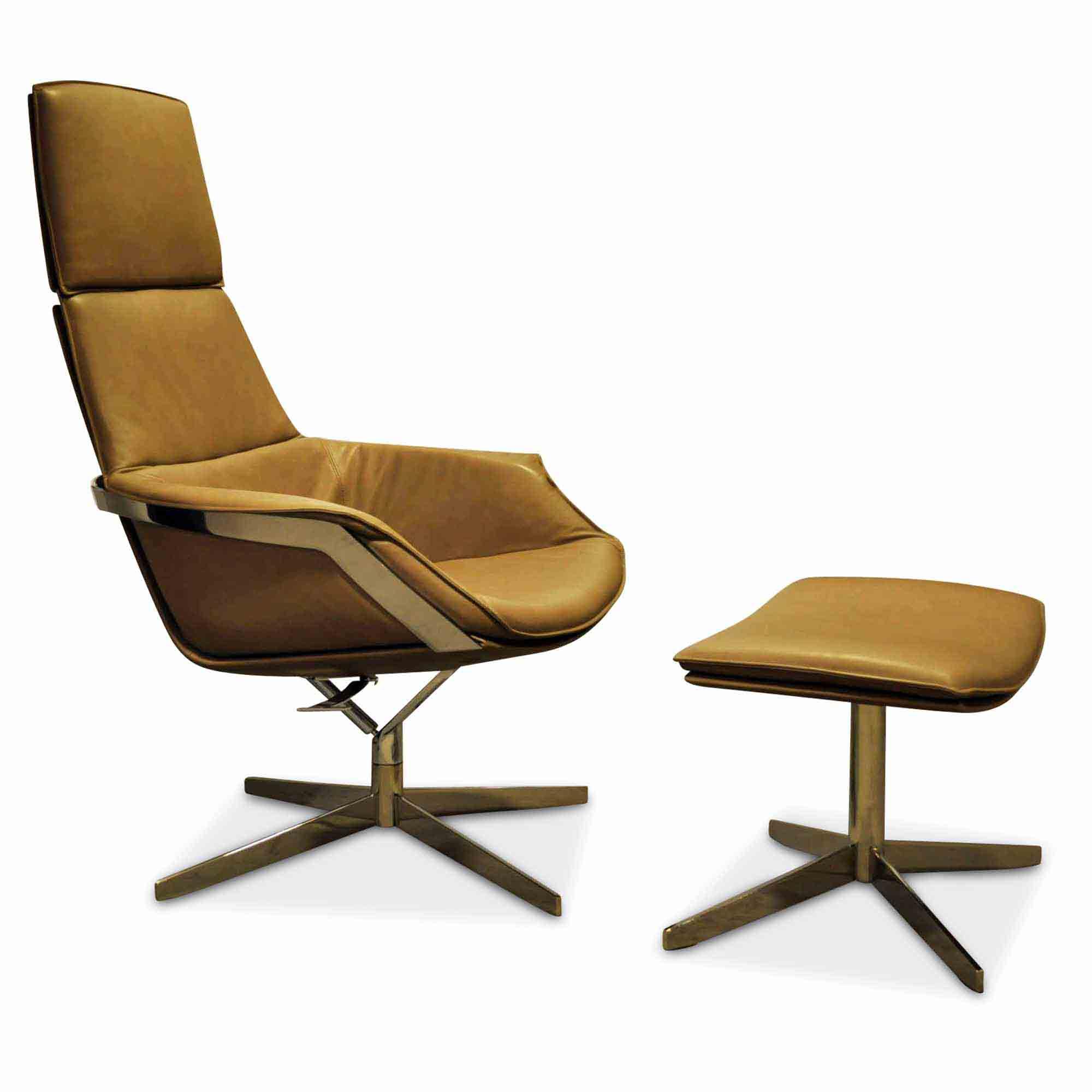 Ip Design Designer Sessel Bond Mit Hocker Leder Stahl Beige Braun