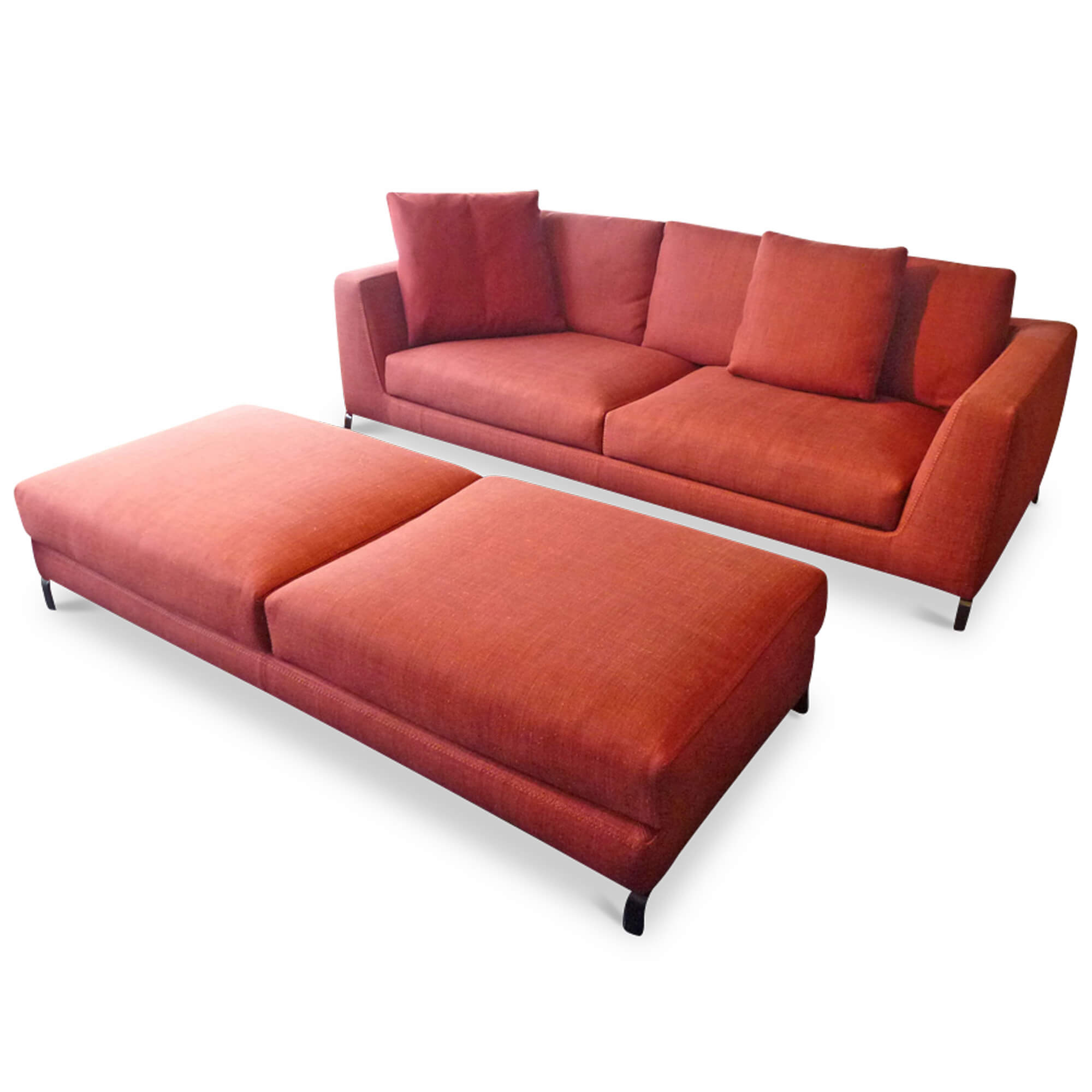 b b italia designer sofa ray mit hockerbank stoff chrom schwarz rot 4260552923820 ebay. Black Bedroom Furniture Sets. Home Design Ideas