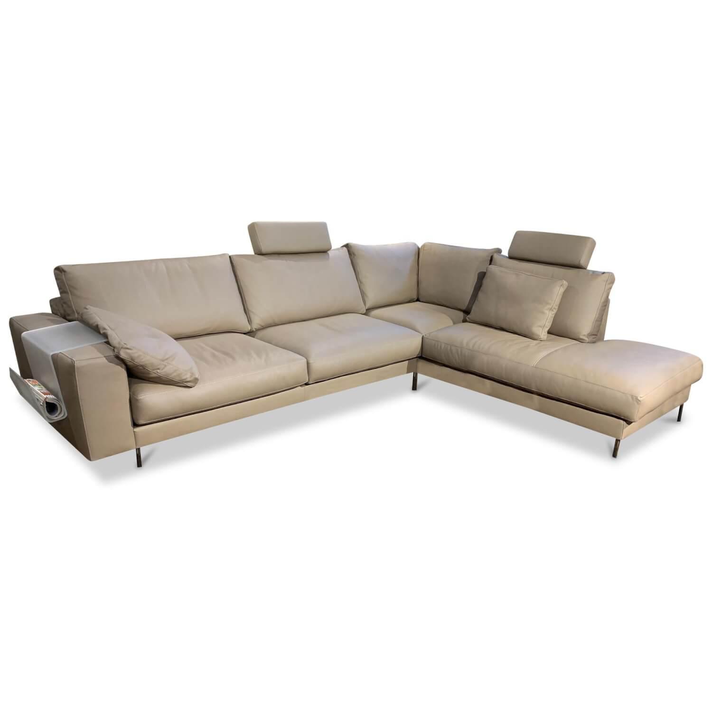 Ecksofa M100 Leder Braun Beige | Garnituren | SOFAS | MöbelFirst