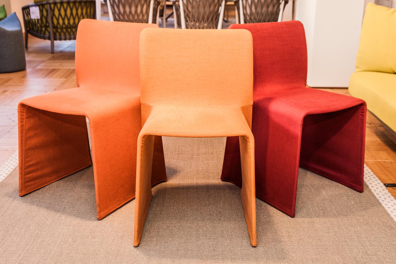 Stuhl Set Glove Stoff Orange Rot – Molteni & C – Stühle