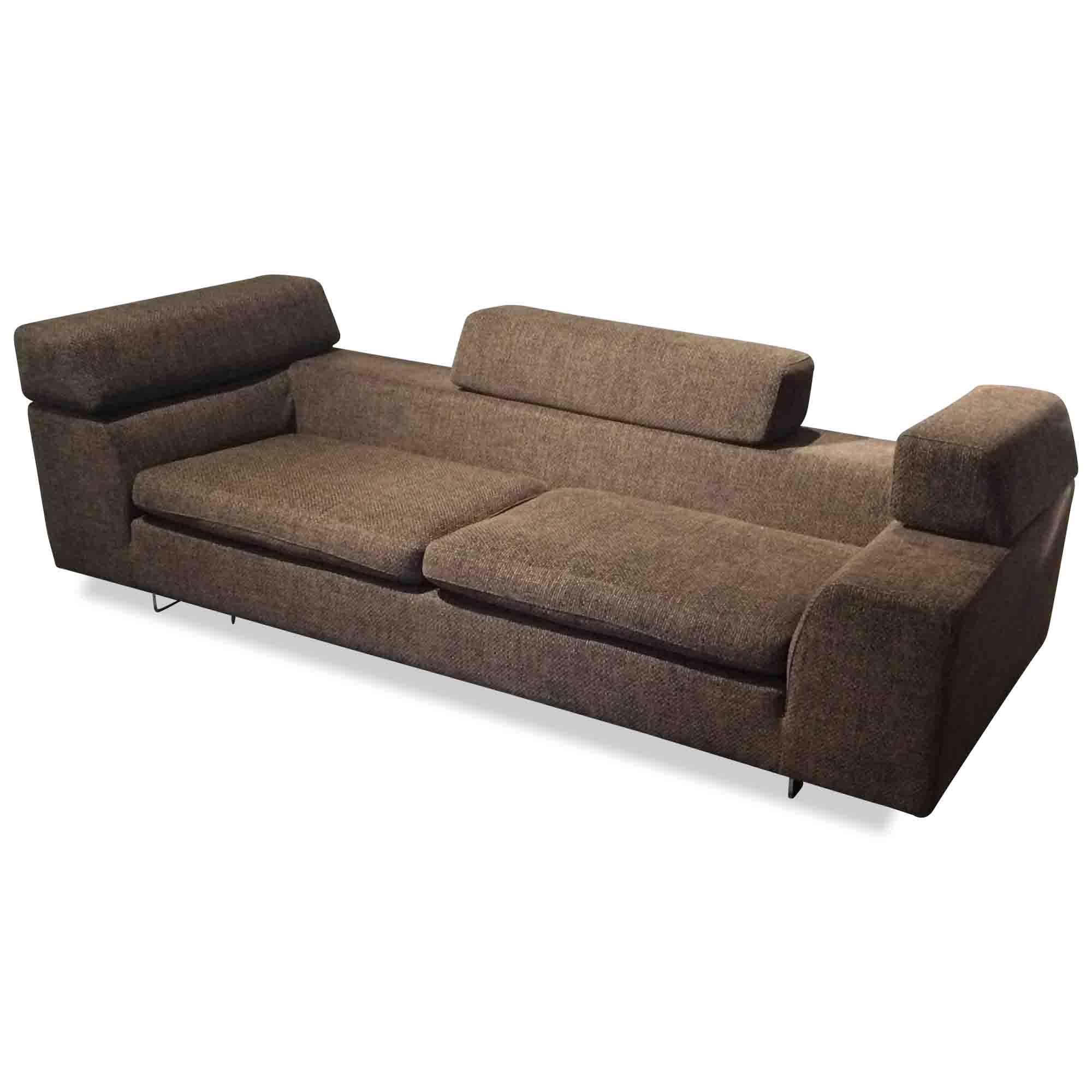 machalke designer sofa black jack s 3 stoff holz braun chrom ebay. Black Bedroom Furniture Sets. Home Design Ideas