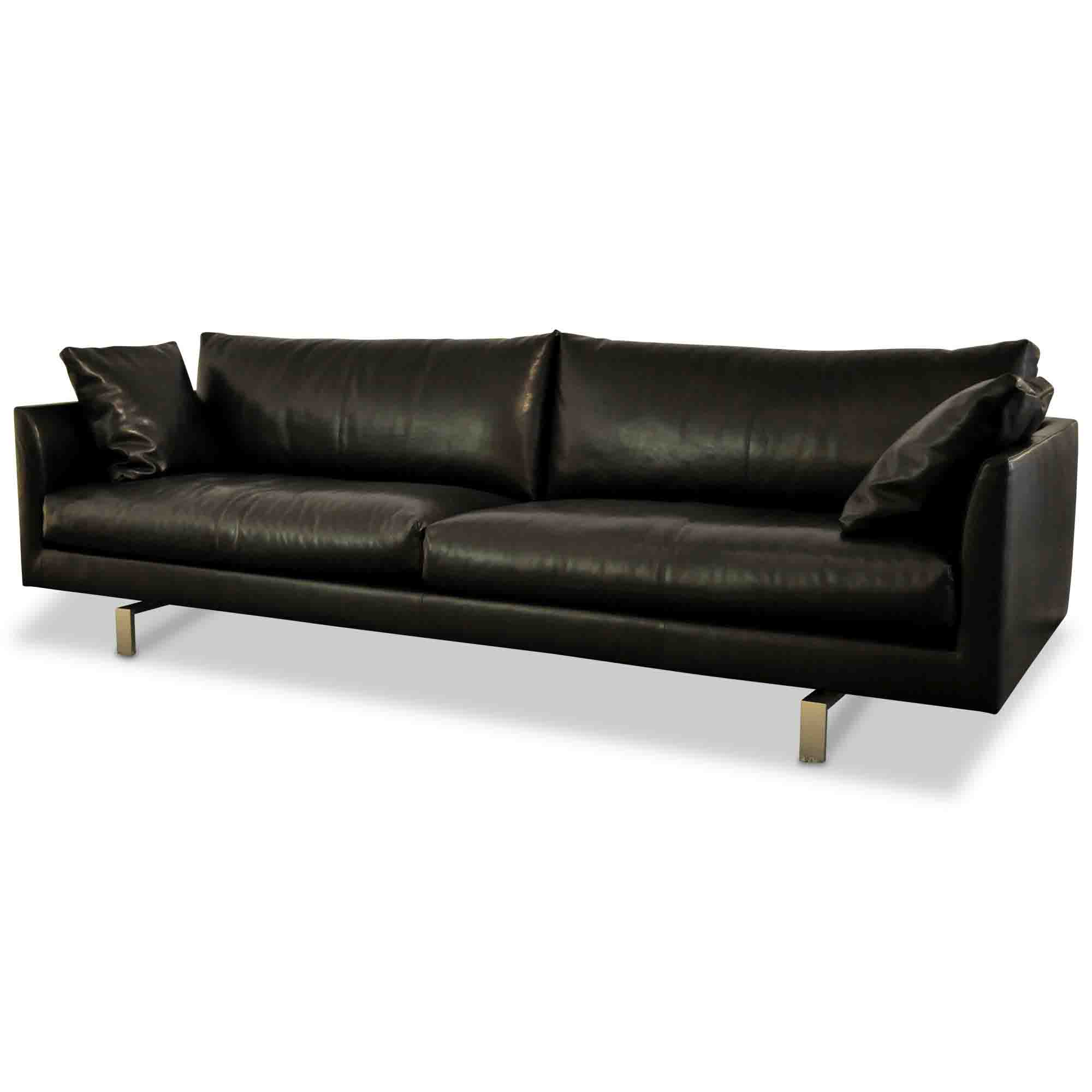 montis designer sofa axel leder stahl schwarz edelstahl ebay. Black Bedroom Furniture Sets. Home Design Ideas