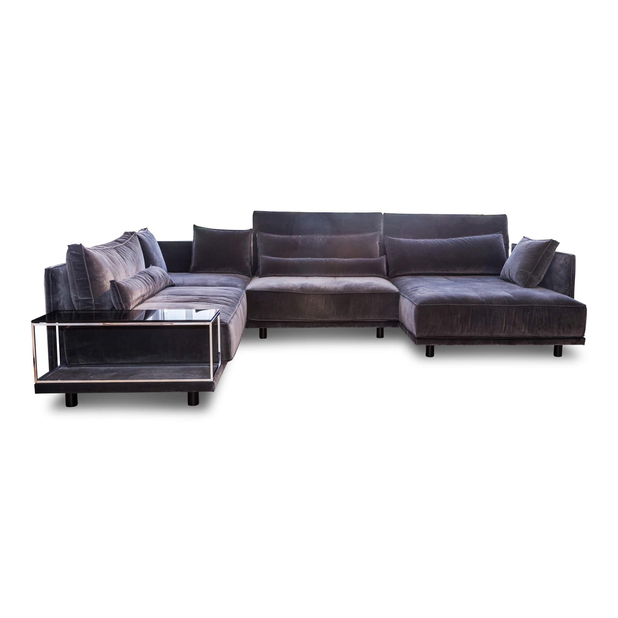 Ecksofa Cube Lounge Stoff Samt Grau Mit Tisch – IP Design – günstig