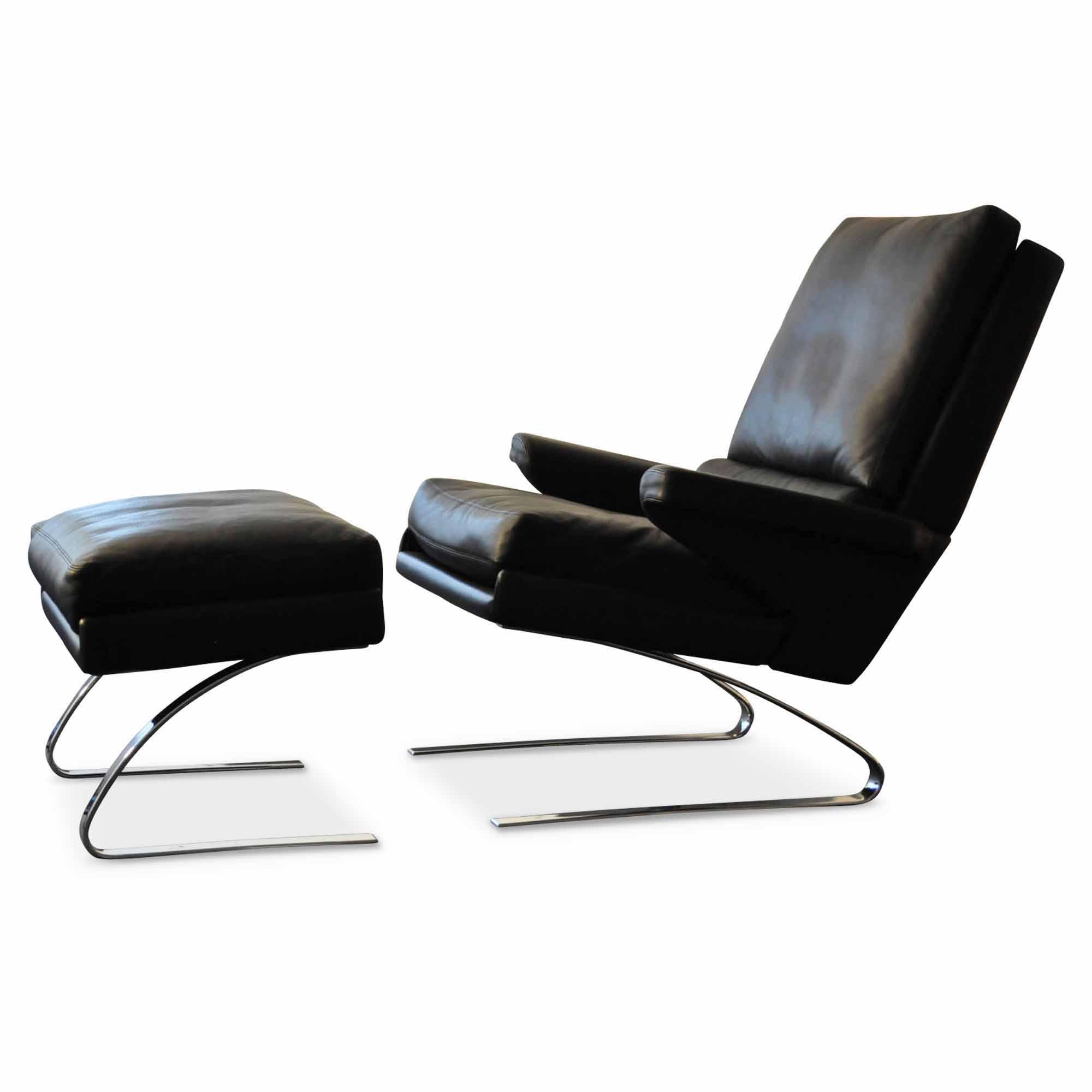 cor sessel, cor designer sessel swing (mit hocker) leder chrom schwarz verchromt, Design ideen