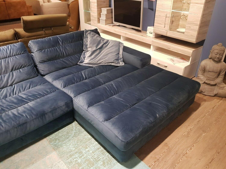 Sofa Stripe Stoff Samt Blau Grau mit Kissenset - Candy ...