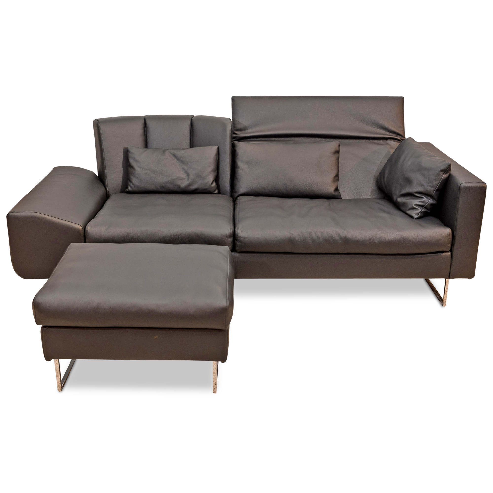 Bruhl Designer Sofa Embrace Mit Hocker Leder Metall Schwarz Chrom