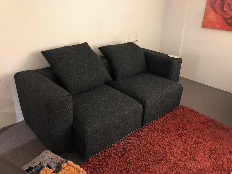 Sofa Pure Elements Stoff Grau Zweisitzer mit 2 Kissen | 2 ...