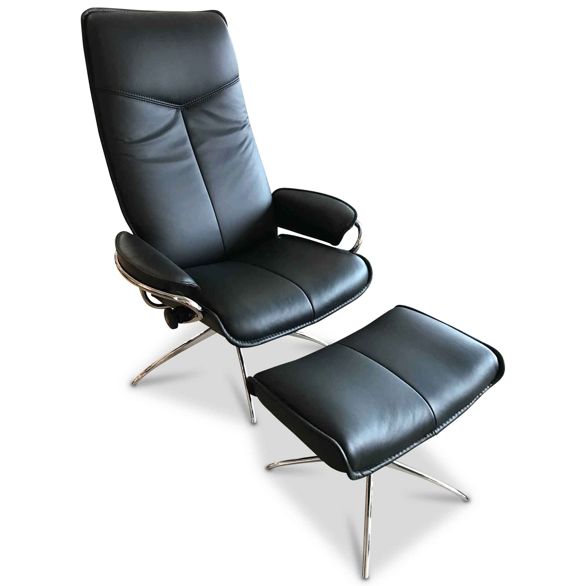 stressless designer sessel city mit hocker leder metall schwarz ebay. Black Bedroom Furniture Sets. Home Design Ideas